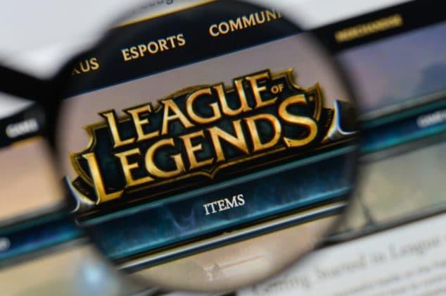 League of Legends logo shown on a computer screen