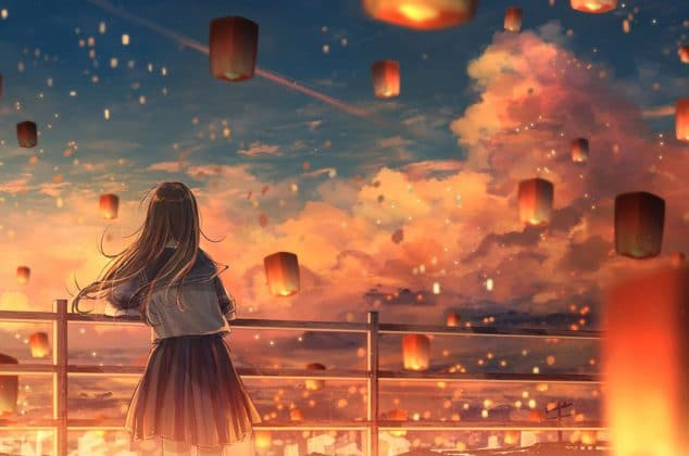 Anime illustration of woman surrounded by floating lanterns