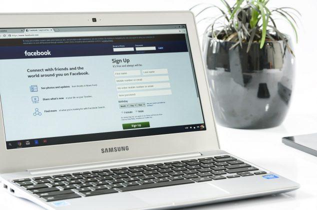 Facebook login page displayed on laptop