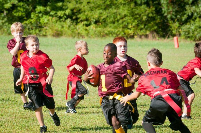 Flag football team in action