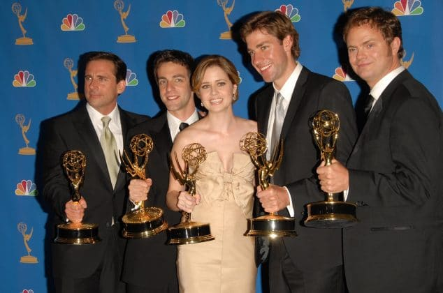 """Cast of """"The Office"""" holding their Emmy Awards"""